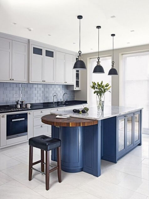 Blue Kitchen Island Design Ideas with one side half rounded