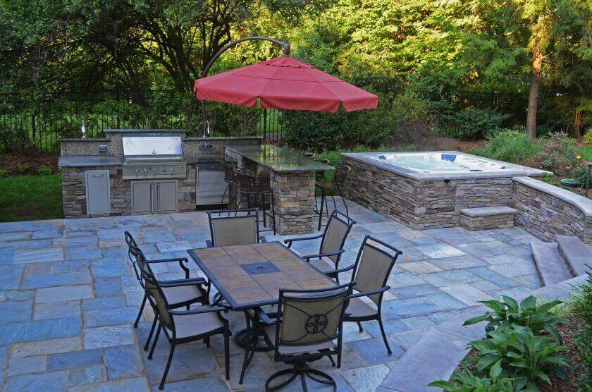 backyard patio with hot tub