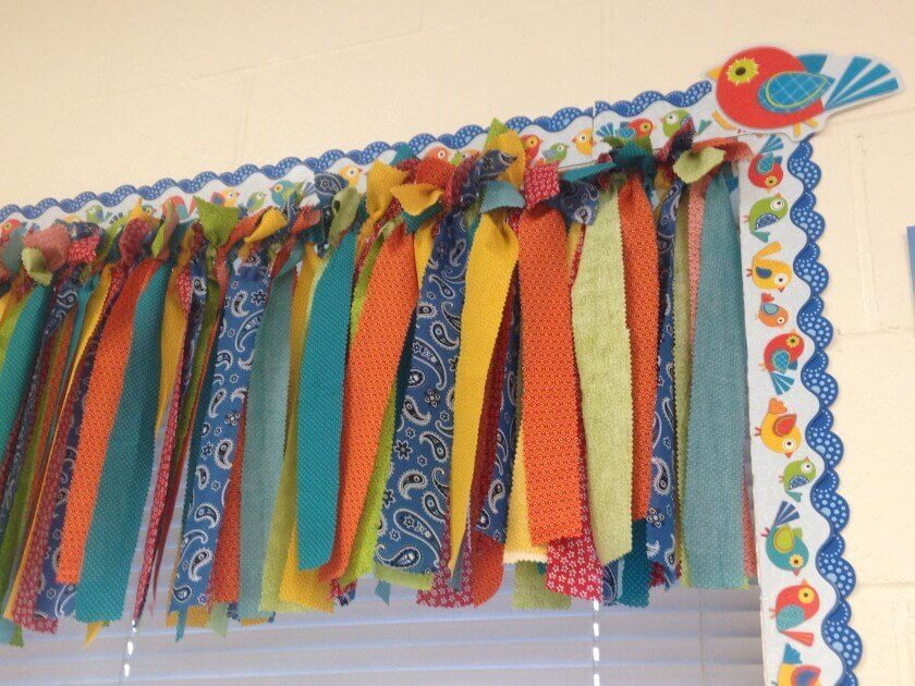 class-decoration-craft-classroom-window-valance-made-out-of-strips-of-quilting-fabric-tied-of-class-decoration-craft