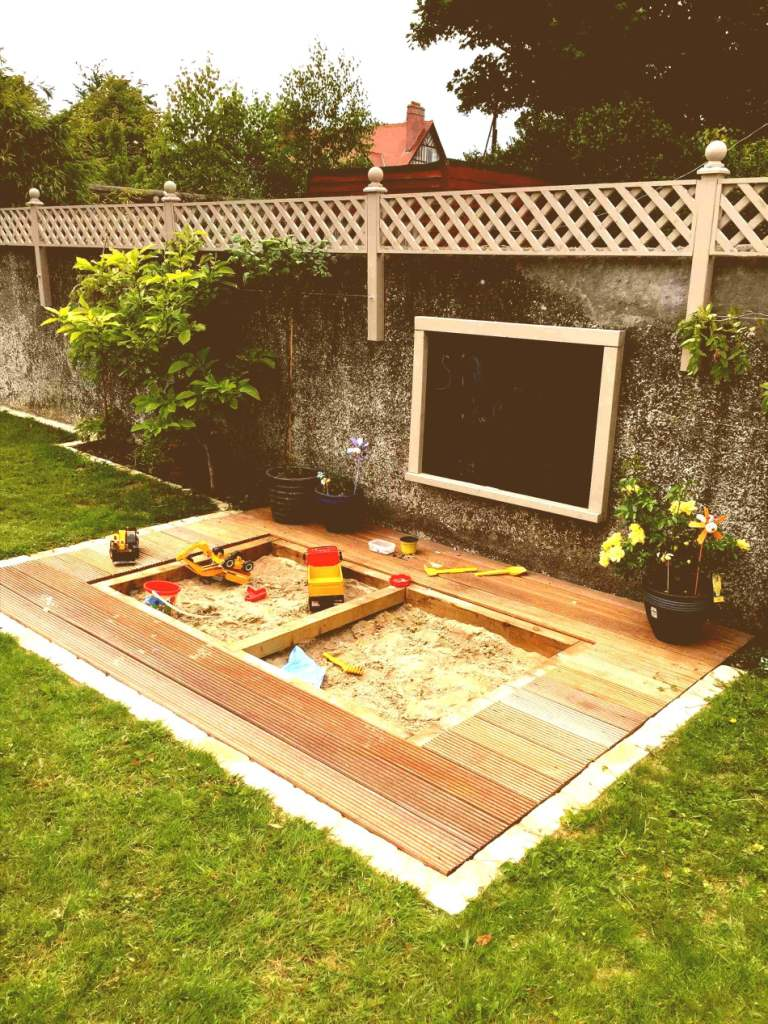 Sandbox for Your Child's Playground - Small backyard idea for kids