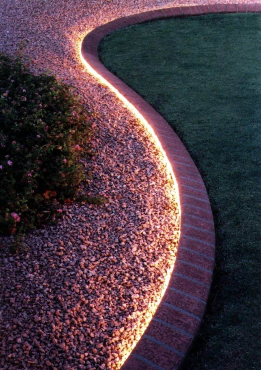 Bright Lighting from Brick Edging - backyard decor ideas