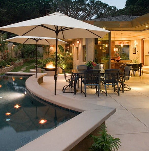 Delight backyard patio ideas with fireplace