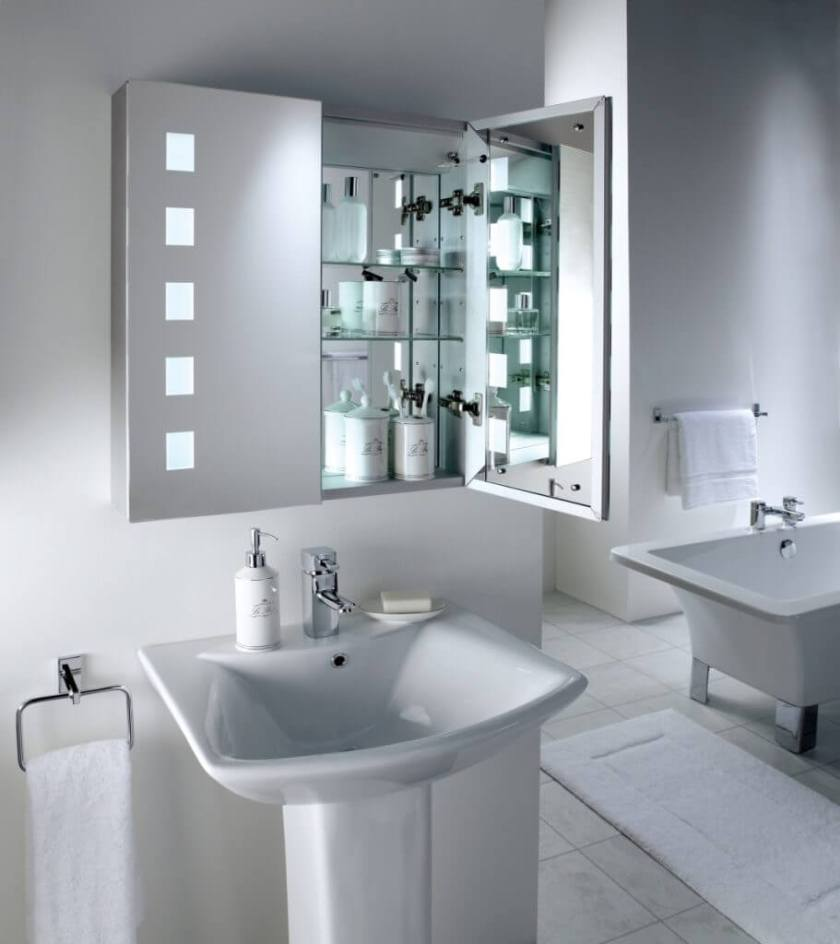 modern bathroom mirror with glass medicine storage idea feat luxurious white area rug and pedestal sink design