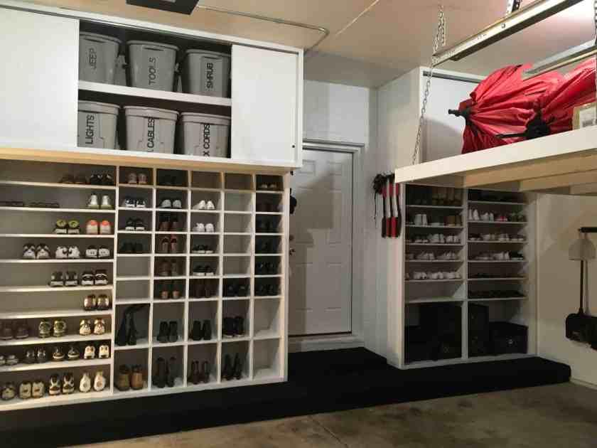 Installing Racks garage shoe cabinets both shown