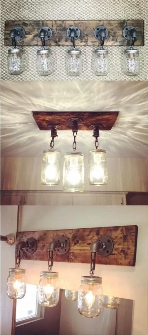 rustic bathroom lighting in mason jar