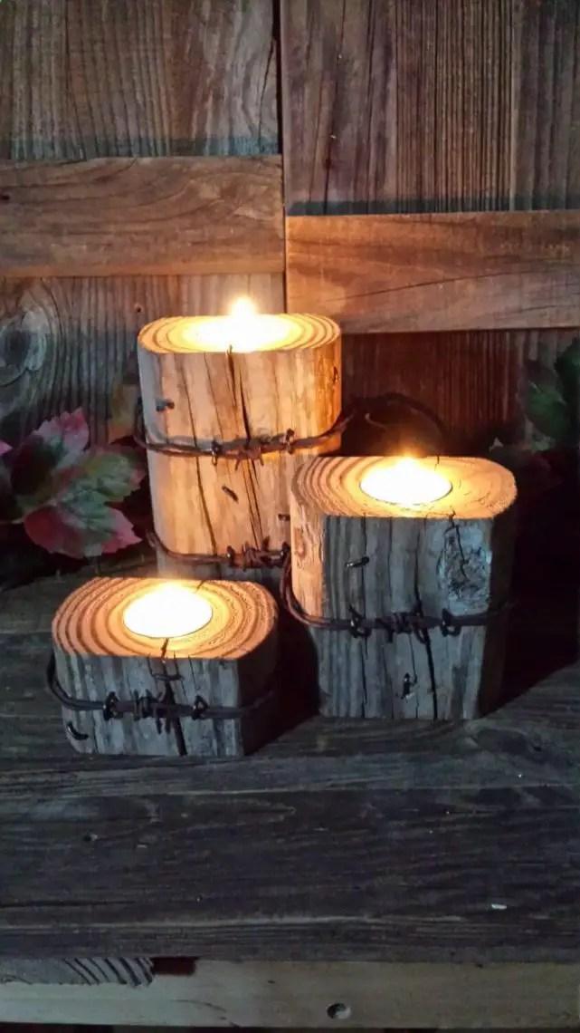 DIY Rustic Log Candles