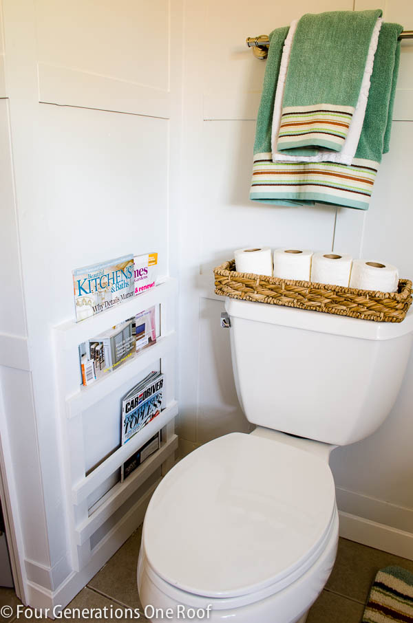 magazine rack for rustic bathroom
