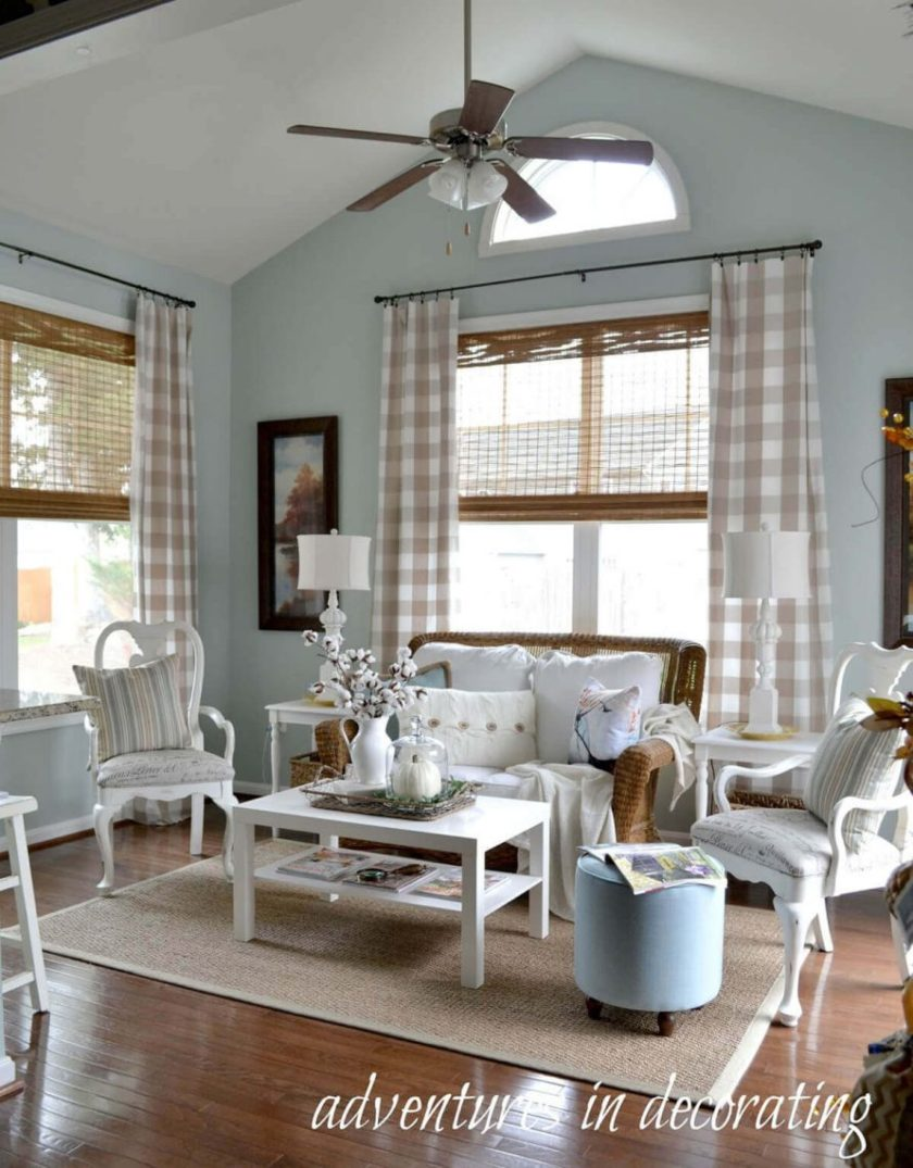 Between Plain and Patterned Fabric Curtains for Living room