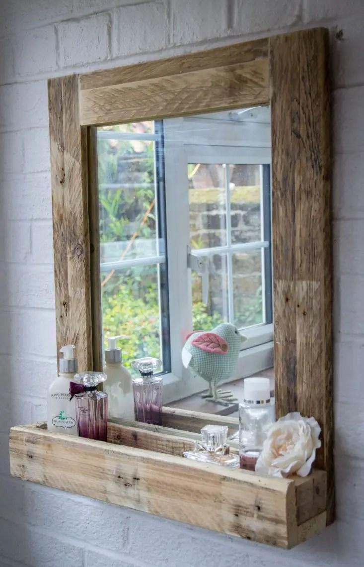rustic wooden bathroom mirror