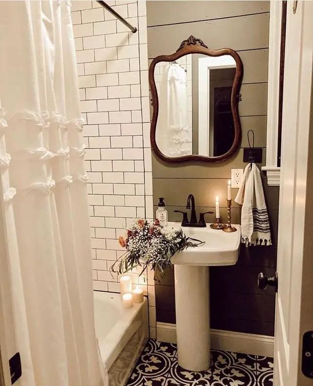 tiny rustic modern bathroom mirror and vanity