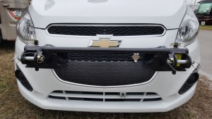 The Roadmaster crossbar can be removed when not towing for a less Toad-like look. The RViBrake emergency breakaway attachment can also be seen below the grill in this picture.