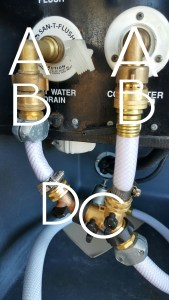 A = 90 Degree Elbows B = Vacuum Breakers C = Splitter w/ Valves D = Optional Black Tank Inline Valve