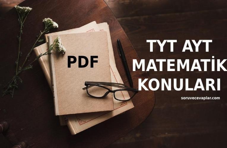 2021 TYT AYT Matematik Konuları PDF – YKS Müfredatı MEB