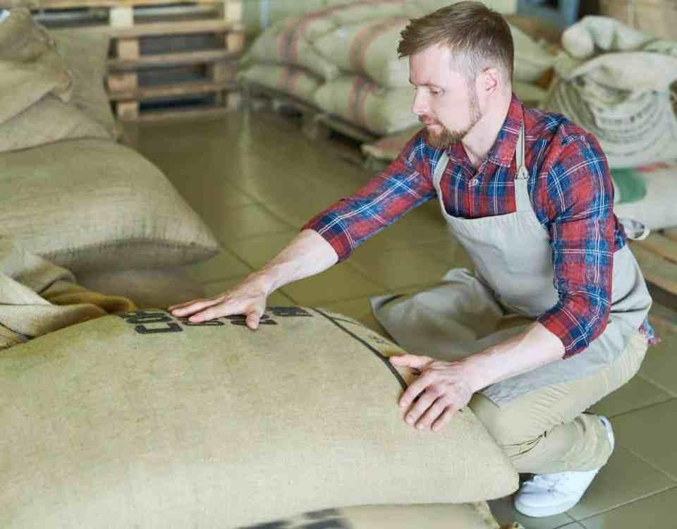 Modern Entrepreneur with Coffee Bags