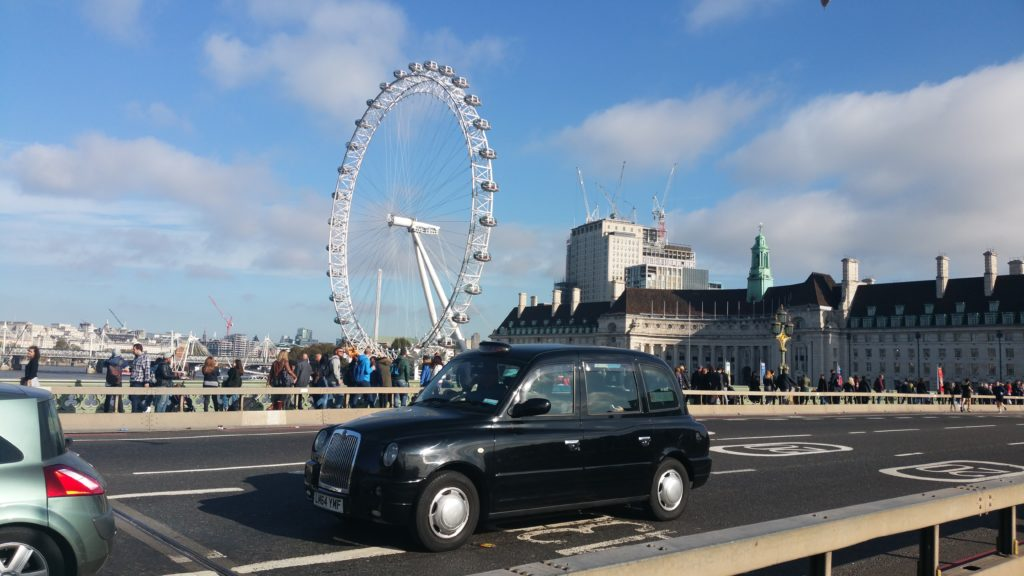 London Cab on Westminster Bridge