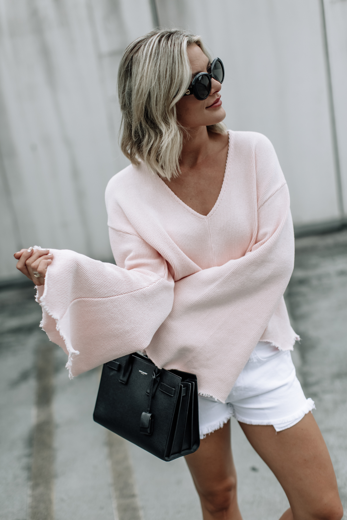 pink raw edge flare top topshop sweater