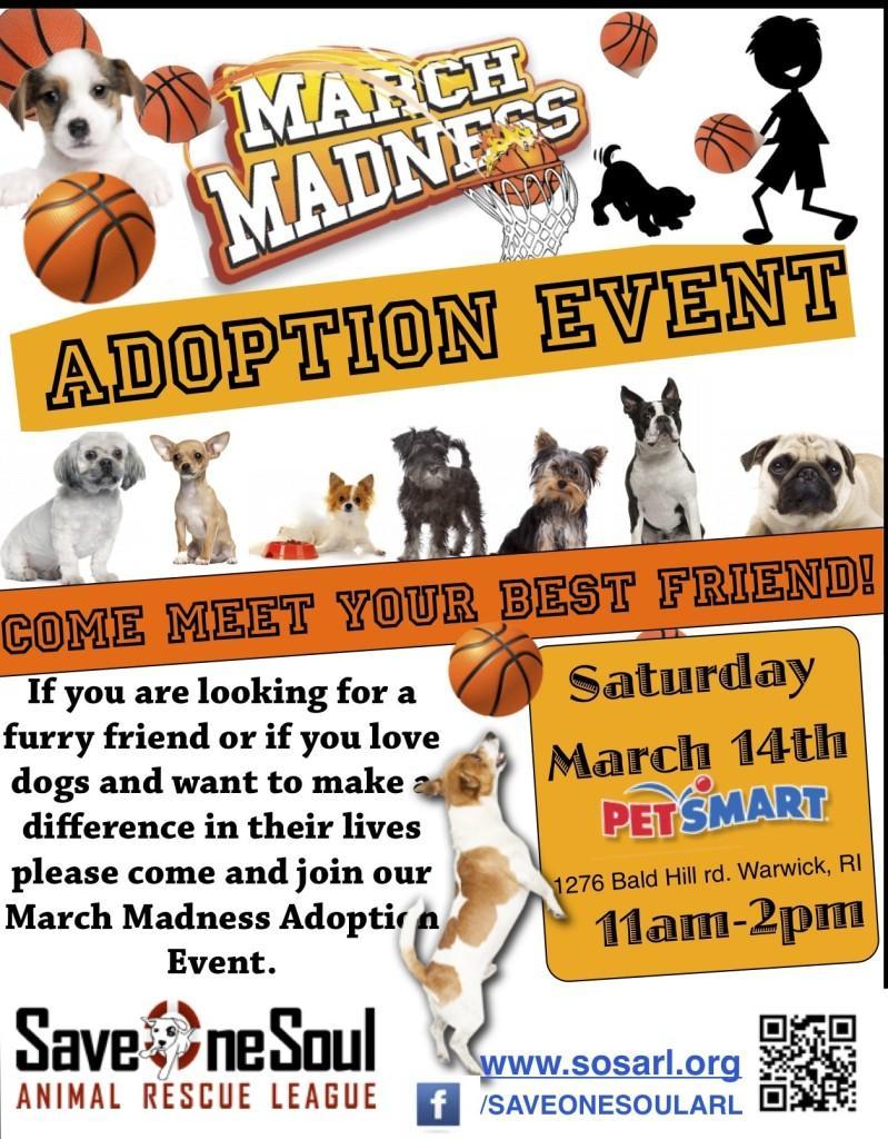 3/14 March Madness Adoption Event – Petsmart, Warwick RI   Save One