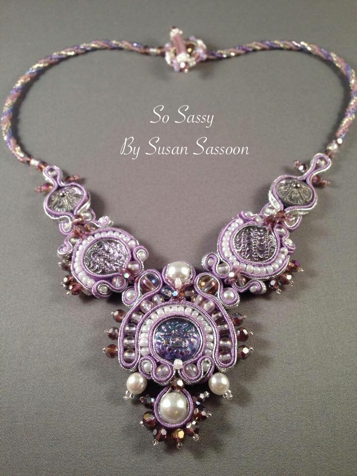 Lilac soutache Necklace