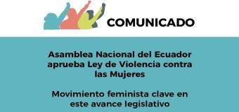Asamblea Nacional del Ecuador aprueba Ley de Violencia contra las Mujeres