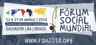 Fórum Social Mundial acontecerá em março