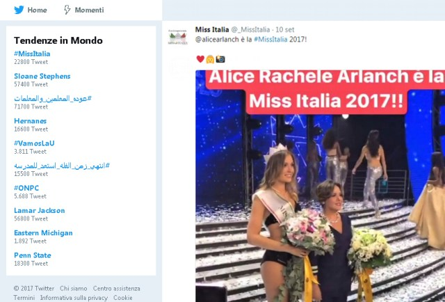 Miss Italia: tendenze Twitter in Mondo