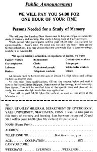 Annonse for forsøkspersoner i Milgram eksperimentet