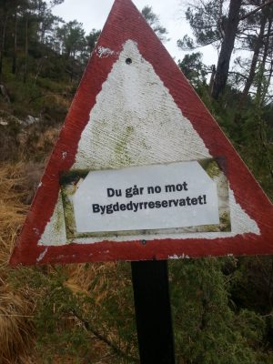 Du går no mot bygdedyrreservatet!