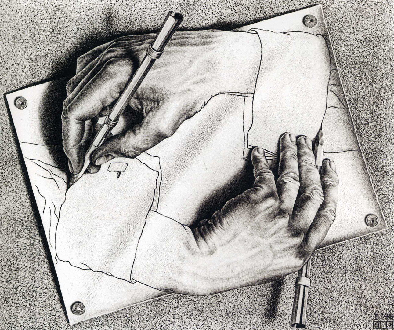 Drawing of hands optical illusion