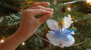 Homemade angel on Christmas tree