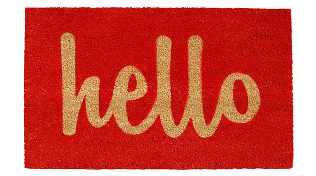 Cheerful doormat with hello greeting