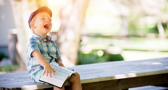 Surprised and joyful boy