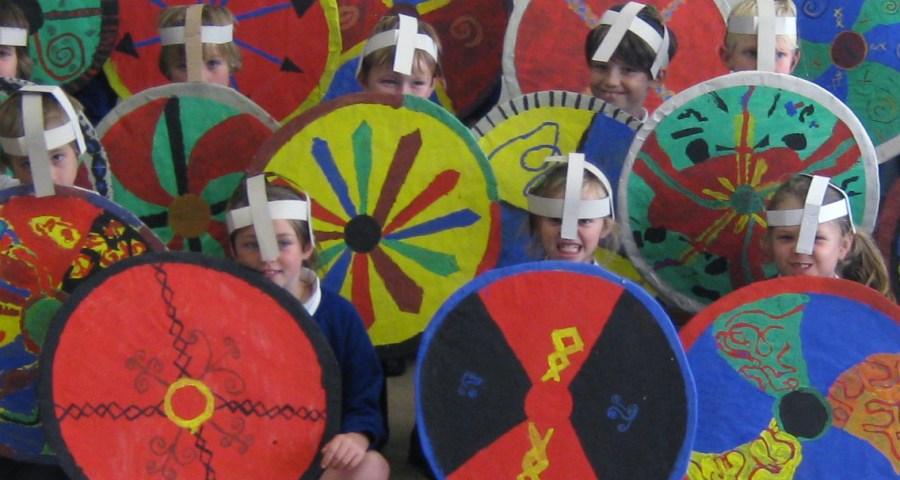 Kids in viking costumer with shields