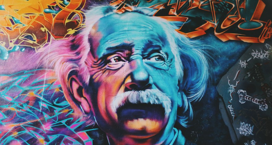 Einstein in color graffiti