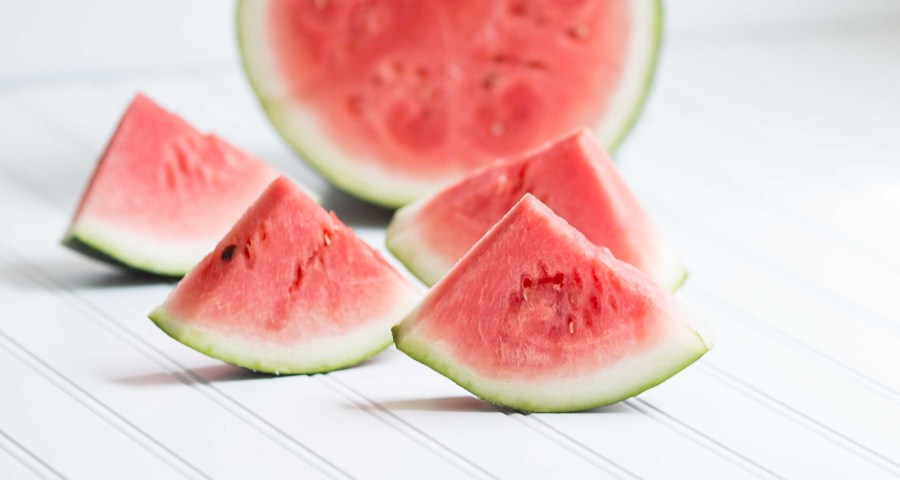 Watermelon cut into smaller pieces