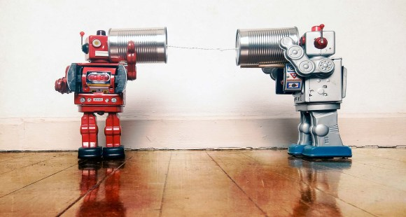 Robots using tin telephone cans