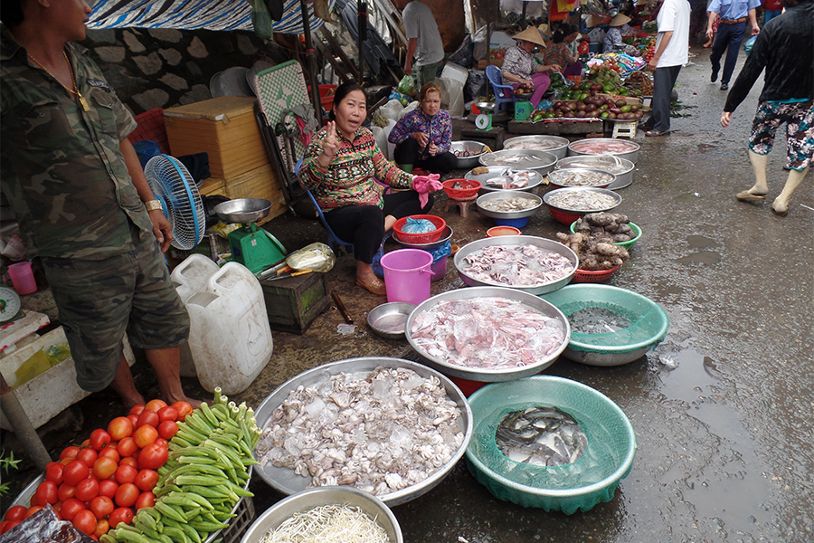 Outdoor food market in Vietnam