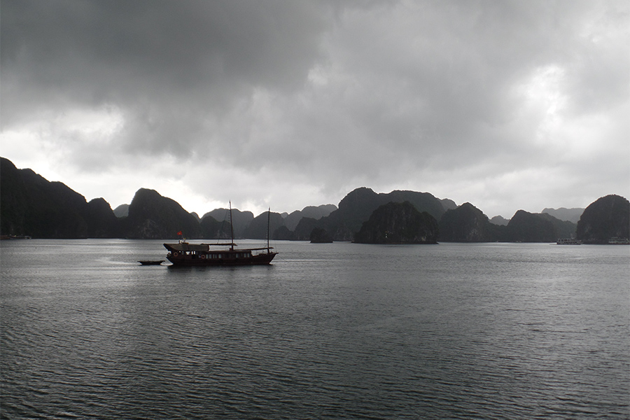 Ha Long Bay in stormy weather