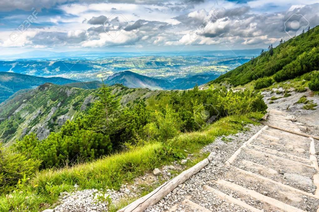 Hiking trail in mountains, landscape, Tatra National Park, Polan