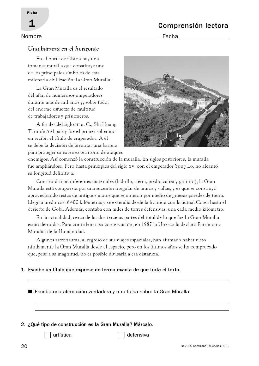 Comprensión lectora: 21 fichas de la Editorial Santillana para 6º de ...