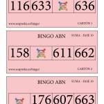 Cartones BINGO ABN: Fase 10 de la SUMA