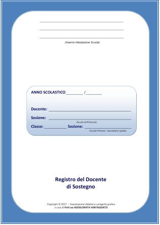 COPERTINA REGISTRO DOCENTE DI SOSTEGNO