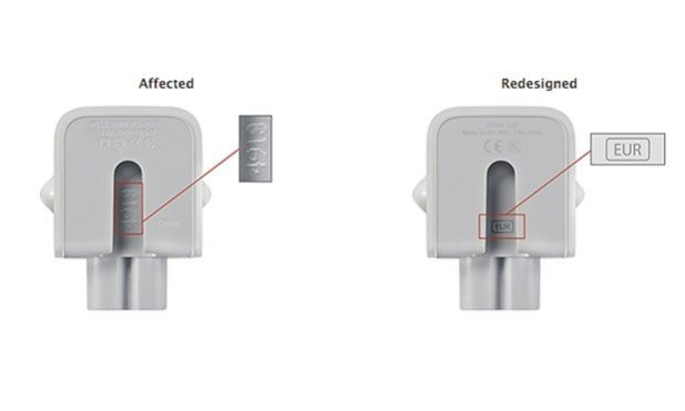 Users can identify the faulty adapter by the texted printed on the inside. Photograph: Apple