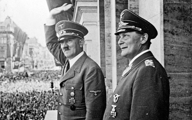 Nazi leader Adolf Hitler, left, with his second-in-command Hermann Göring