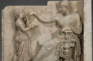 2,500-year-old Ancient Greek Sculpture Depicts Young Girl Holding a Laptop Computer