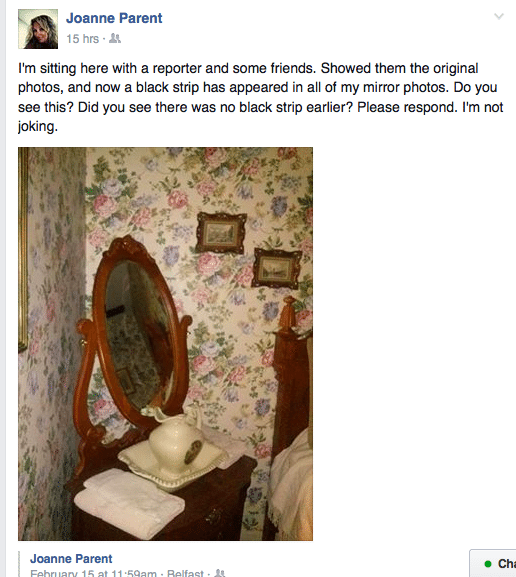 Screenshot from Joanne's Facebook page asking if anyone has noticed the black bar appearing in the photo 24 hours later.