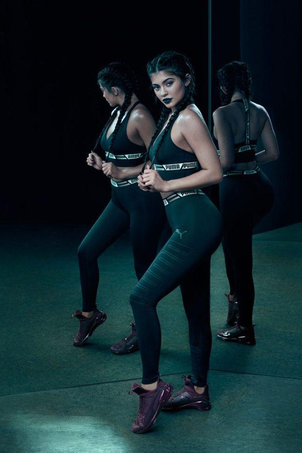 Kylie Jenner wearing the Puma Fierce KRM trainers. Courtesy of Puma.