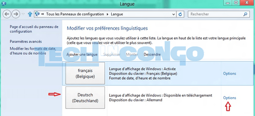 module linguistique francais pour windows 8.1