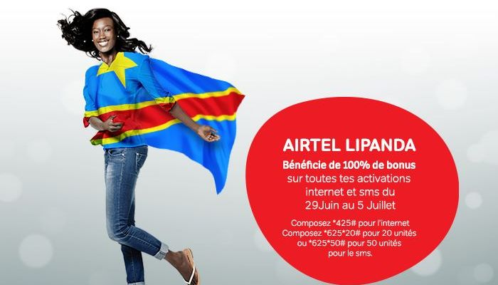 Airtel Lipanda 2015 AIRTEL LIPANDA : 100% de bonus sur les activations INTERNET et SMS