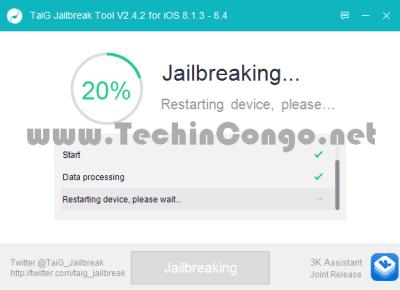 TaiG Jailbreak en cours 400x290 Comment jailbreaker iOS 8.1.3 à iOS 8.4 avec TaiG