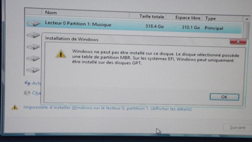 Windows peut pas etre installer sur ce disque Convertir une Table de partition MBR en GPT et vice-versa sur Windows ou sans OS